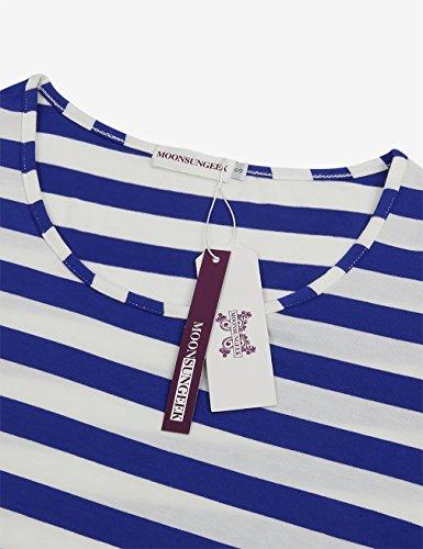 MOOSUNGEEK Top à Manches Longues - Femme bleu/blanc