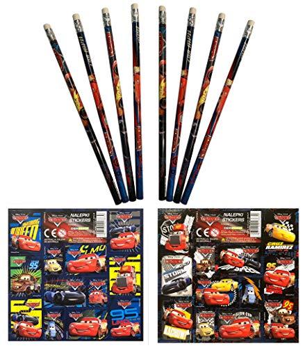 Unbekannt Cars Mc Queen - 16 TLG. Set 8 Bleistifte mit Radiergummi + 8 Stickerbogen Mitgebsel Kindergeburtstag