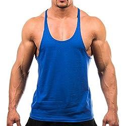Areshion - Camiseta de tirantes - Cuello redondo - Sin mangas - Hombre Azul azul Medium