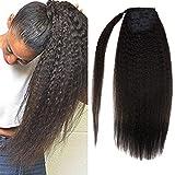 LaaVoo 16 Pouces #1B Noir Naturel Silky Ponytail Extensions Brésiliennes de Cheveux Humains Mous Extensions de Cheveux Lisses Raides Bouclés 80g