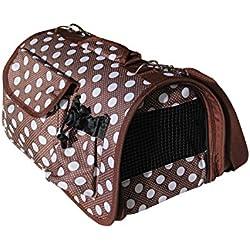 BPS (R) Portador Transportín Bolsa Bolso de Tela (Lunares) para Perro, Gato, Mascotas Animales,Tamaño:S,37x22x20cm (Marrón)