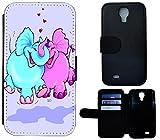Flip Cover Schutz Hülle Handy Tasche Etui Case für (Samsung Galaxy S4 Mini i9190 i9195, 1447 lustige Elefanten Rosa Blau Elefant)