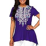 SEWORLD 2018 Damen Mode Sommer Herbst Elegant Rundkragen Drucken Button Drucken Kurzarm Bluse Top Tunika Shirt(Violett,EU-34/CN-S)
