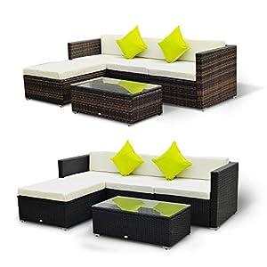 51BoIaBcVKL. SS300  - Outsunny 5 Pieces Rattan Sofa Set Wicker Garden Sectional Furniture Cushion Patio Black Brown