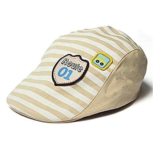 gemini-mallr-baby-kids-toddler-stripe-beret-hat-flat-cap-baseball-cap-beige