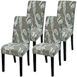 Fuloon 4er 6er Set Stuhlüberzug Universal Stretch Stuhlhussen Abnehmbare Stuhlbezug Protector Cover(4 Stück Khaki Grün)