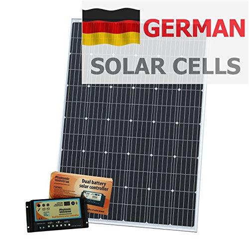 250W 12V Photonic Universe Dual Akku Solar Ladekabel Kit aus Deutsche Solar Zellen, mit 20A Laderegler und 5m Kabel