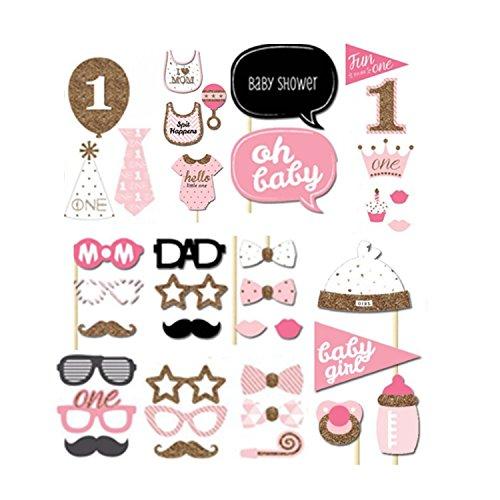 (40 Baby Duschen Fotorequisiten Flasche Baby Kind Dusche Woll Stick Favor Werkzeuge Brett Masken Prop Karten)