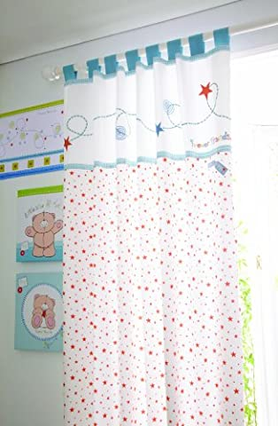 Forever friends by izziwotnot (Little Star) Lined Tab Top Curtain Pair - Blue Colour Pure Cotton