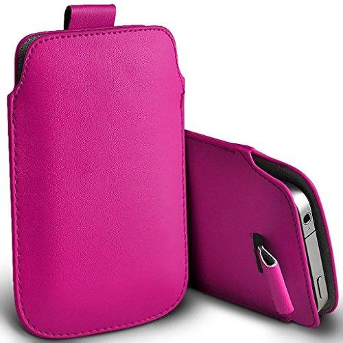 I-Sonite (Hot Pink) Premium Slip-in Pull-Tab Ärmel Kunstleder Tasche Hülle für vivo NEX Dual Bildschirm [XXXL]