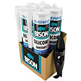 Mastic silicone Transparent Lot de 4+ 1Outil de retrait en silicone. Utilisation en cuisine/salle de bain/WC/cabine de douche. aux moisissures, résistant aux UV, étanche, résistant aux intempéries, résistant aux produits chimiques, (mer) résistante à l'eau. Action rapide, Pourquoi élastique, non à peindre.