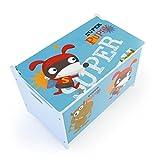 Homestyle4u 1765 Kinder Spielzeugtruhe Hund, Spielzeugkiste mit Deckel klappbar, Aufbewahrungsbox, Holz Blau - 4