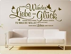 """I-love-Wandtattoo 11464 Wandtattoo Spruch """"Glaube an Wunder, Liebe und Glück. Schaue nach vorne, niemals zurück. Tu was du willst und stehe dazu, denn dieses Leben lebst nur du!"""" Wanddekoration (Schwarz, 125 x 55 cm)"""