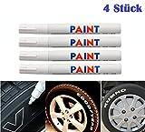 WEIß / WEISS 4x Stück Reifen Stift Reifenmarker Auto, Motorrad, Fahrradreifen Reifenmarkierungsstift Reifenstift Marker Stift Beschriftung wasserfest wetterfest -101934- INION®