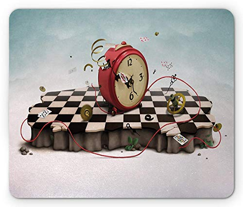 ASKSSD Surrealistic Mouse Pad, Abstract Time Theme with Fiction Podium with Old Clock Cards and Rope Icon, Standard Size Rectangle Non-Slip Rubber Mousepad, Multicolor