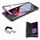 ToDo Samsung Galaxy S9 Plus Hülle [Neuste Design] [Magnetische Adsorption Technologie] [Metallrahmen] Ultra Dünn Glas-Telefon-Kasten Schutzhülle Anti-Kratzer Handyhülle - Lila + Transparent