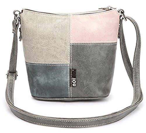 Borsa A Tracolla Multicolore In Pelle Rosa Multicolore Patchwork Design