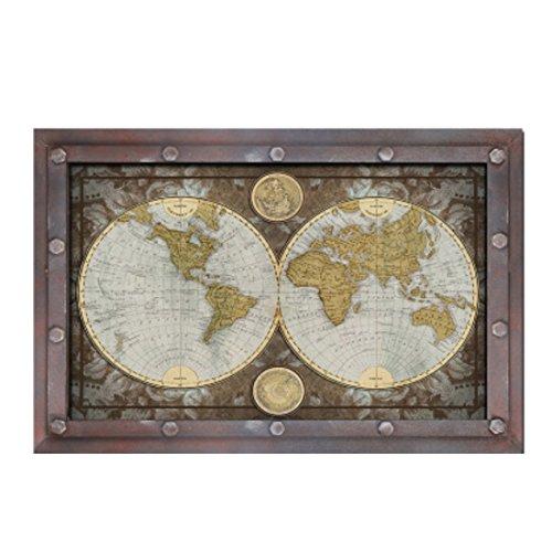 er Zeichen Retro Vintage Holz Welt Karte Zuhause ()