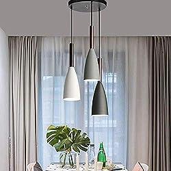 OOFAY Nordic Moderne hängende Deckenleuchte Nordic Macaron Holzleuchter-Befestigung Küche Anhänger Beleuchtung Wohnzimmer Hängeleuchten,3in1