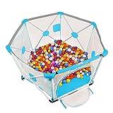 Laufgitter & -ställe Spielkästen mit 100 Kugeln, Indoor Outdoor Stable Kinder Kleinkind Kids Heavy Duty Zaun - 82,5 × 150 cm (Farbe : Blau)