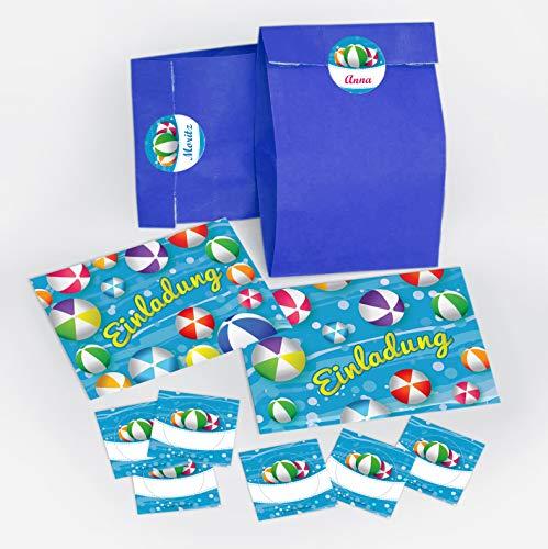 12 Einladungskarten zum Kindergeburtstag Schwimmbad Party Wasserbälle für Mädchen und Jungen / Pool Party / bunte Einladungen zum Geburtstag inkl. 12 Umschläge, 12 Party-Tüten / dunkelblau, 12 Aufkleber