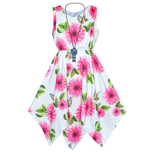 Sunboree Mädchen Kleid Rose Blume Taschentuch Saum mit Halskette Gr. 146