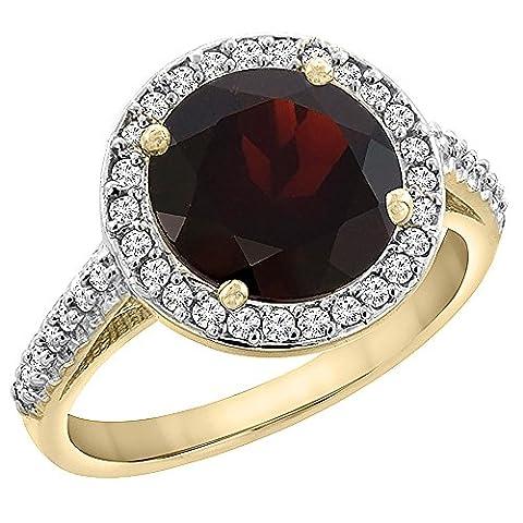 Revoni or jaune 585 or jaune 585/1000 (14 cts) Rond brillant Rond G-H Rouge Granat Diamant FINERING