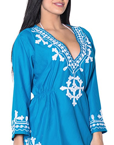 La Leela Damen Rayon Hals alle in 1 Wohn- beiläufiges Kleid Badeanzug Kimono Tunika tief Hals Bademoden Plus szie maxi kurz Kaftan Maxi Strand-Party Pool-Bikini-Vertuschung gestickt Blau