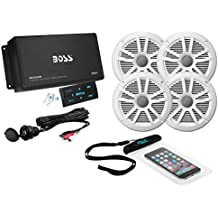 Boss Audio ask904b.64 500 W Amplificador de 4 canales Bluetooth mc900b y dos pares de 180 W mr6 W Marino de altavoz en Juego