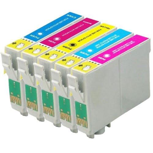 1 Go Inks Ensemble de 5 Cartouches d'encre à remplacer Epson T0807 (C/M/Y/LC/LM)Compatible/non-OEM pour Epson Stylus Imprimantes (5 encres)
