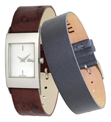 Moog Paris Alu Women's Watch with Silver Dial, Brown Strap in Genuine Leather - M00012-401