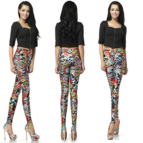 THENICE damen Digitaldruck-Leggings Colorful skull