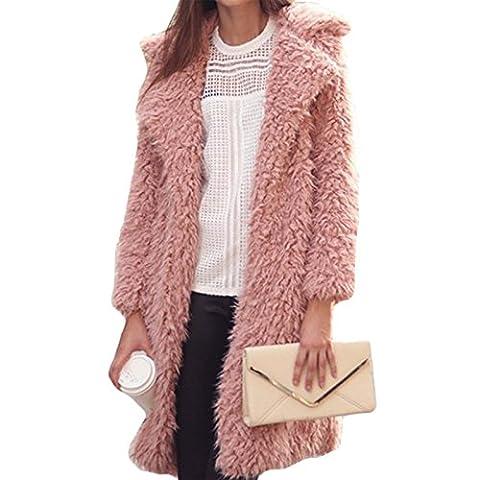 Femme Parkas Jacket Cardigan Fourrure Faux Manches Longues Casual Chaud Automne Hiver fourrure d'hiver Automne veste parka veste à capuche en fausse fourrure manteau (XL, Rose)