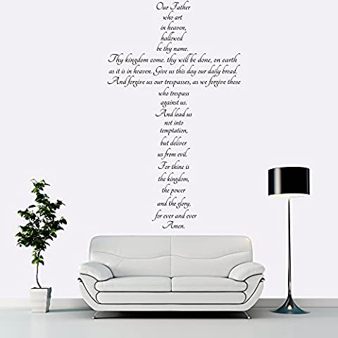 The Lords Prayer Cross Christian Religious Wall Stickers Home Decor
