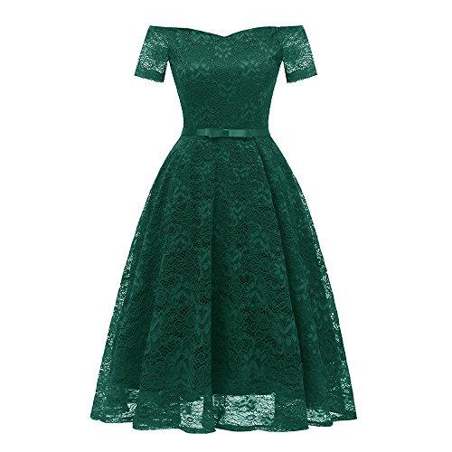 Luckycat Räumungsverkauf Damen Spitzenkleid Vintage Spitze Patchwork Schulterfrei -