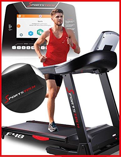 Sportstech F48 tapis roulant professionnel avec 10,1 pouces Android Fitness App WiFi 7,75 CV 20 kmh avec support de la tablette - Ceinture cardiaque compris - pliable