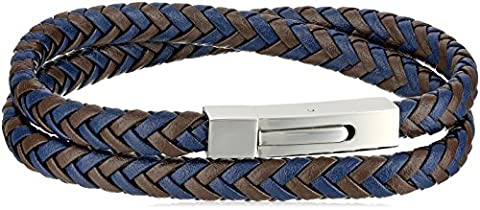 Men's Two Tone Leather Stainless Steel Push Lock, Wrap Bracelet