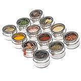 eamqrkt 12 Stück magnetische, sichtbare Edelstahl-Gewürzdosen Gewürzdosen Vorratsbehälter Kochständer