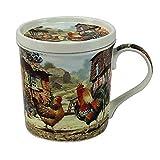 Schöne Tasse Becher mit Deckel Hahn & Huhn Leonardo Collection Cockerel & Hen