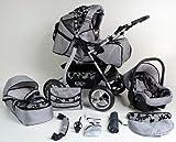 Clamaro 'VIP 2018' 3in1 Premium Kinderwagen Kombi mit Soft Babywanne, Sport Buggy und Autositz Babyschale Gruppe 0+ (0-13 kg), Design: 4. Grau Hartgummi Bereifung - 47. Grau-Schwarzeblumen