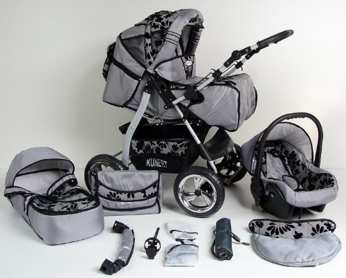 3 in 1 Kombikinderwagen Komplettset VIP – inkl. Kinderwagen, Babyschale und Sportwagen Aufsatz – 4. Grau Hartgummi Bereifung – 47. Grau-Schwarzeblumen