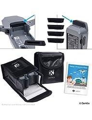 Paquete de seguridad de viaje para DJI Mavic Pro - Para 2 baterías - Incluye: Bolsa de seguridad LiPo, 2x Cubierta de puerto de batería, 1x Cubierta de Seguridad de conexión de alimentación e instrucciones de viaje - Juego de protección ideal para viajar en avión