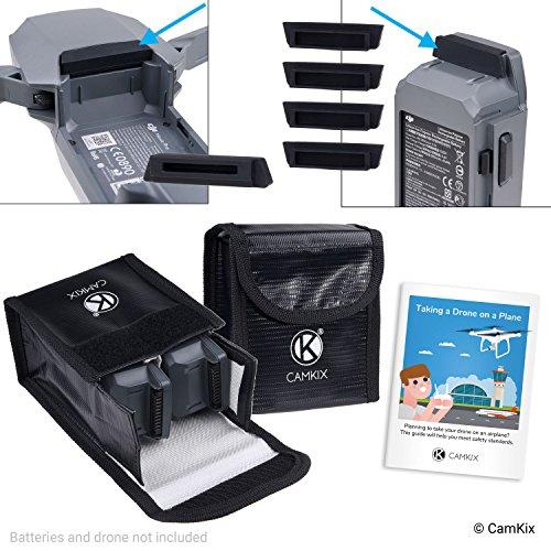 CAMKIX Reisesicherheits-Pack Kompatibel mit DJI Mavic Pro/Platinum - Für 4 Akkus - 2X LiPo-Sicherheitstasche, 4X Akku-Deckel, 1x Ladeanschluss-Abdeckung und Reise-Anweisungen - Ideales Schutz