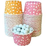 Outside The Box Papers Orange And Pink Polka Dot Candy/Nut Mini Baking Cups 48 Pack Orange, White, Pink
