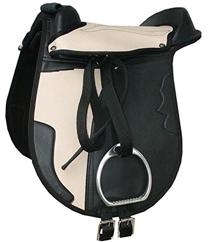 Kinder Pony Reitkissen Set JUNA schwarz/beige 12″ mit Steigbügel, Steigbügelriemen und Sattelgurt auch für Holzpferde geeignetes Sattelset