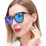 SIPHEW Sonnenbrille Damen Polarisiert, Verspiegelt Groß Form in Blau Aus Kunststoff und Metall, 100% UVA/UVB Schutz (Blau2)