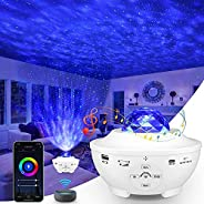 Star Projector,3 in1 Smart Galaxy Projector Night Light Work with Alexa Google Home,Ocean Wave Lights Projecto