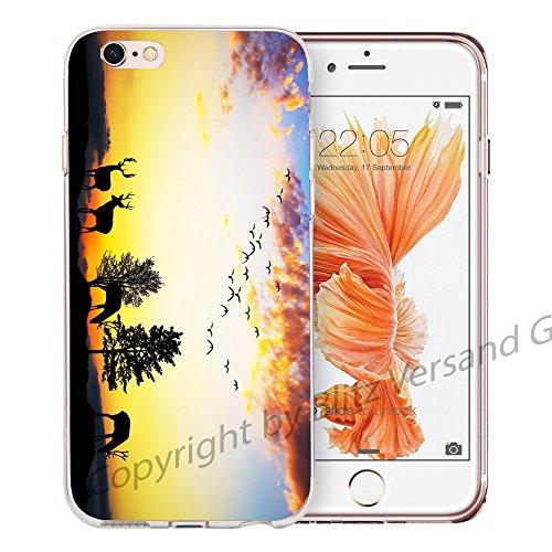 Blitz® NEW YORK motifs housse de protection transparent TPE caricature bande iPhone Cerf dans la montagne M13 iPhone 6 6s Sunset Forest M7