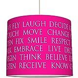 anna wand Lampenschirm BEAUTIFUL WORDS/PINK – Schirm für Lampen mit Text-Motiv in Pink/Weiß – Sanftes Licht für Tischleuchte/Stehlampe / Hängelampe im Wohnzimmer, Esszimmer, Schlafzimmer