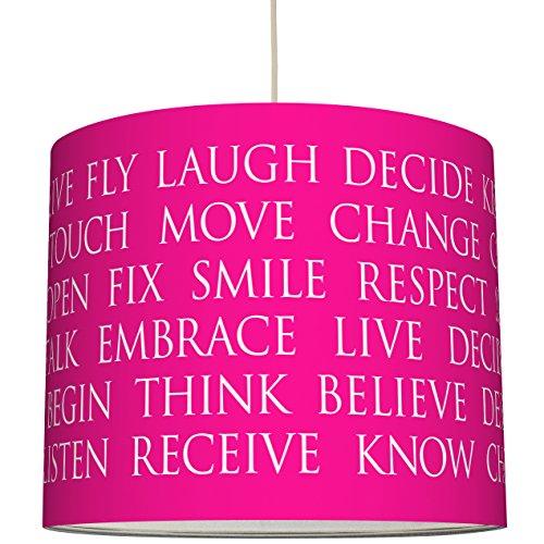 anna wand Lampenschirm BEAUTIFUL WORDS/PINK – Schirm für Lampen mit Text-Motiv in Pink/Weiß – Sanftes Licht für Tischleuchte /...